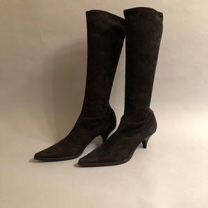 Miu Miu black suede heel boots